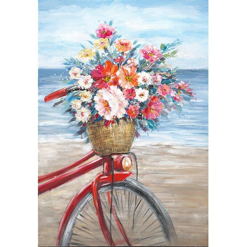 Romântico flor bicicleta pintura a óleo por número para adultos diy lona acrílico pintado casa sala de estar decoração da parede arte 003