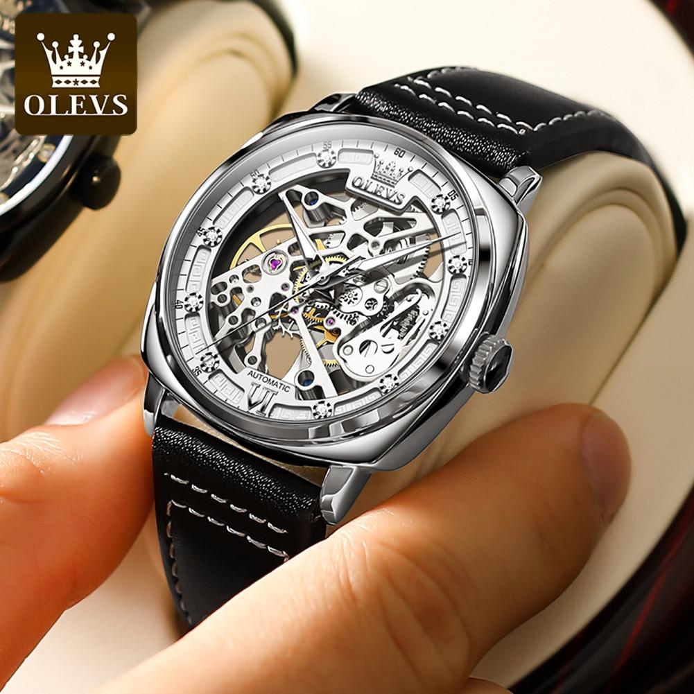 Модные мужские механические наручные часы OLEVS, автоматические дизайнерские мужские наручные часы, Роскошные мужские часы 2021