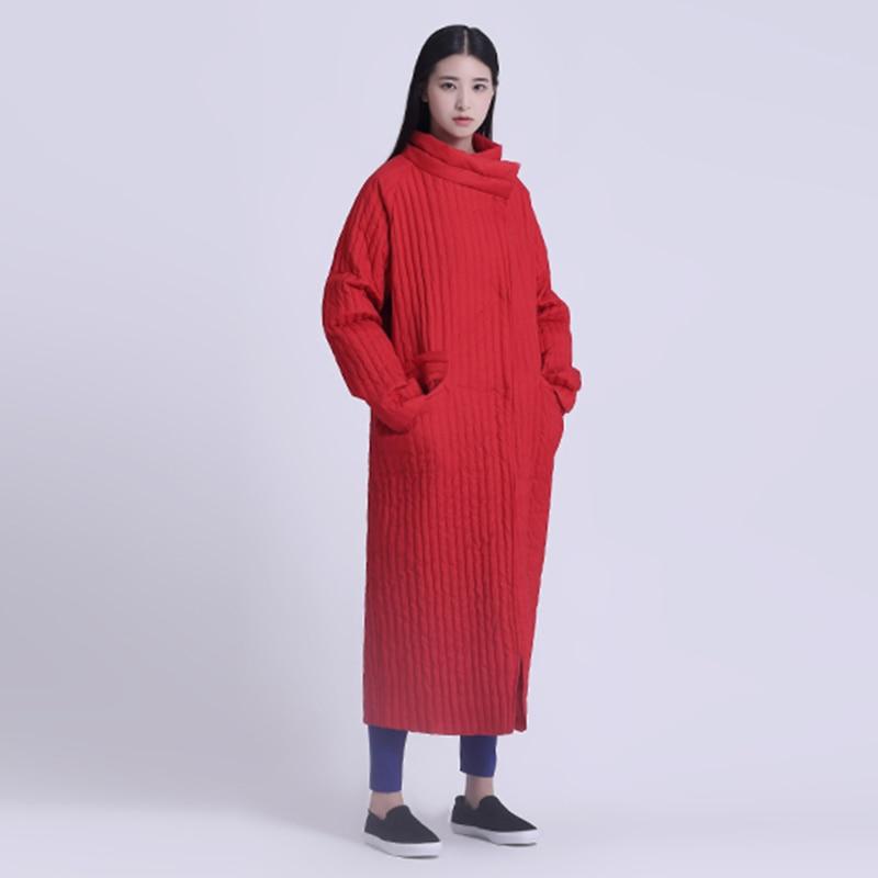 سترة نسائية طويلة, تصميم فضفاض أصلي أحمر أدبي غير متماثل