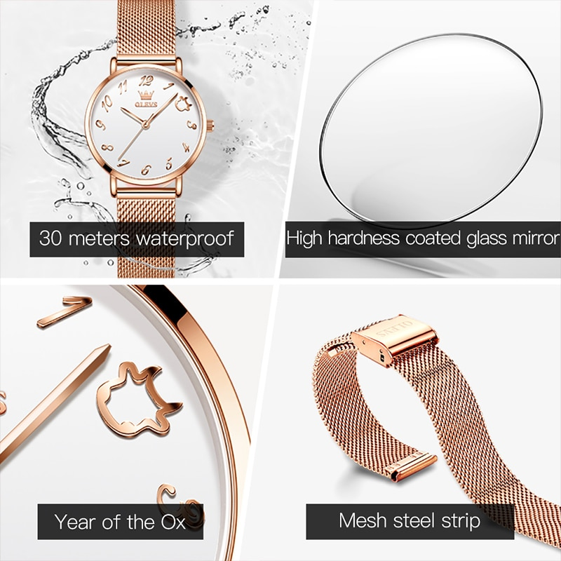 OLEVS New Ladies Quartz Movement Fashion Casual Thin 30M Waterproof Watch Luminous Milanese Mesh Strap Alloy Case Watches 5870 enlarge