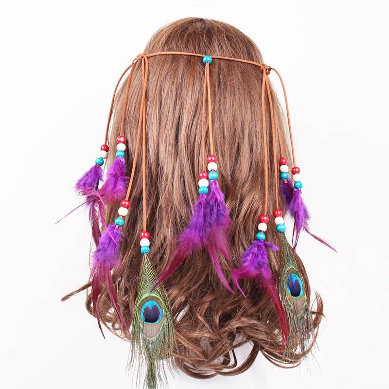 Accesorios para el cabello de mujeres de diseñador de marca de moda diadema de plumas de estilo indio tocado para niñas banda de pelo de plumas joyería para la cabeza