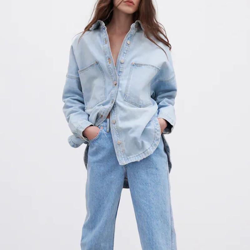 Za المرأة الدينيم الستر المعتاد قميص معطف مع جيب كم طويل زر وردي قمة الموضة شيك قميص امرأة سترة الخريف 2021