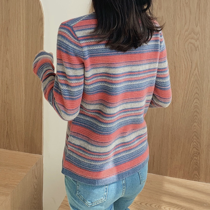 Rainbow Sweater Women's Color Striped High Neck Cashmere Sweater Slim Bottoming Shirt Warm Long-sleeved Fall/winter Pullover enlarge