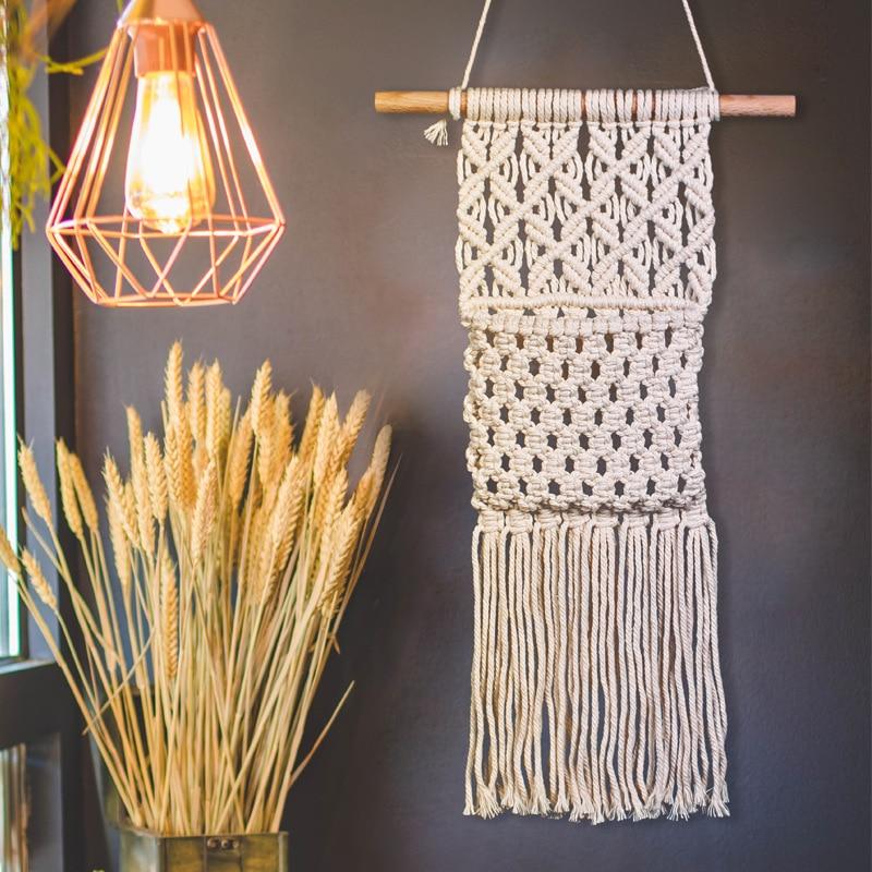 Macramé colgante de pared cesta arte neto bolsillo hecho a mano tejido tapiz Boho colgador de pared Oficina sala de estar artesanía decoraciones KT39
