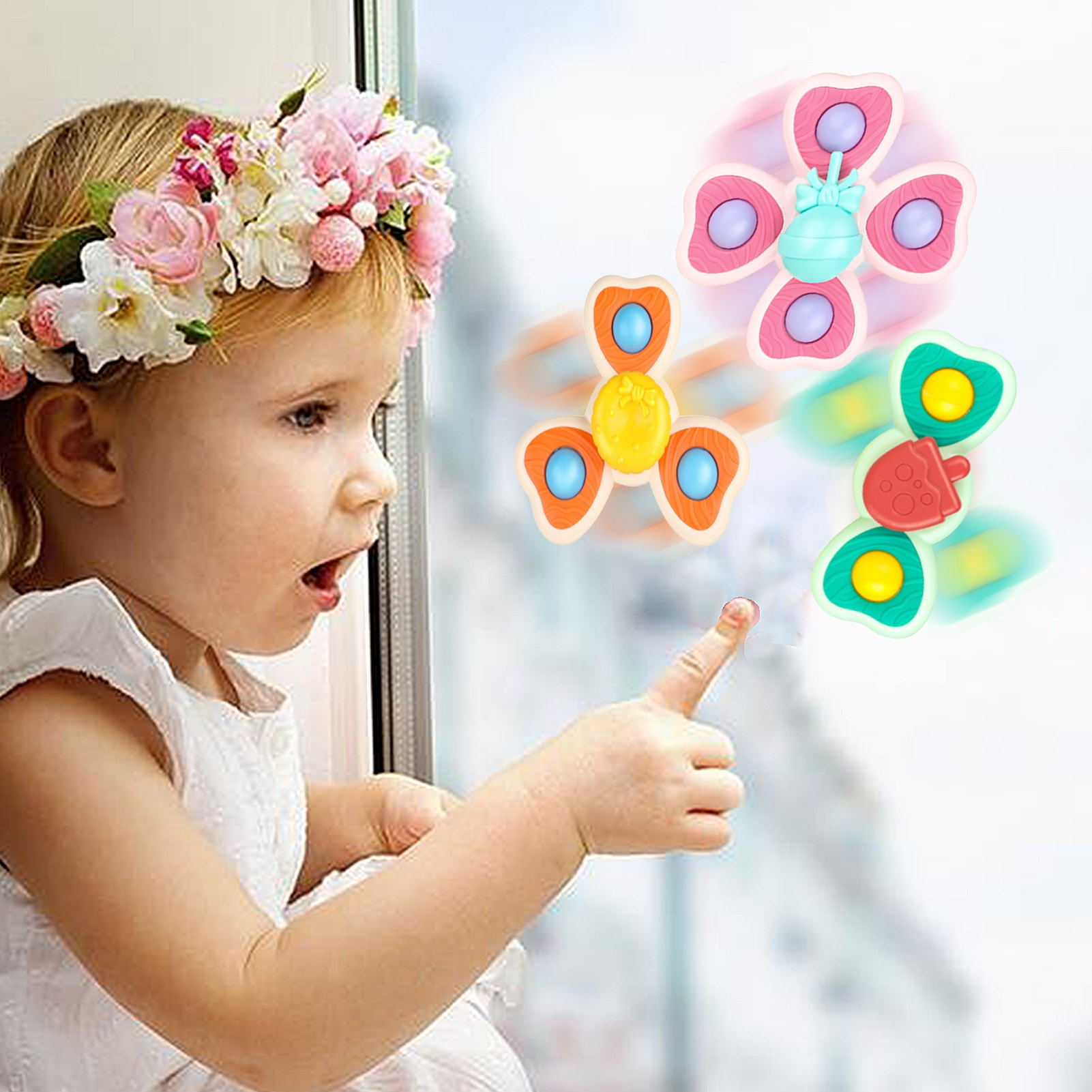 3PCS New Classic Funny Baby Suction Cup Spinner Toy Infant Spinning Top Bathing Fun Toys Baby Rattle Spin Top Bath Toy For Kids enlarge