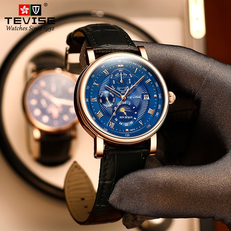 TEVISE 2021 New Men Mechanical Watches Fashion Luxury Automatic Watch Men Clock Male Business Waterp