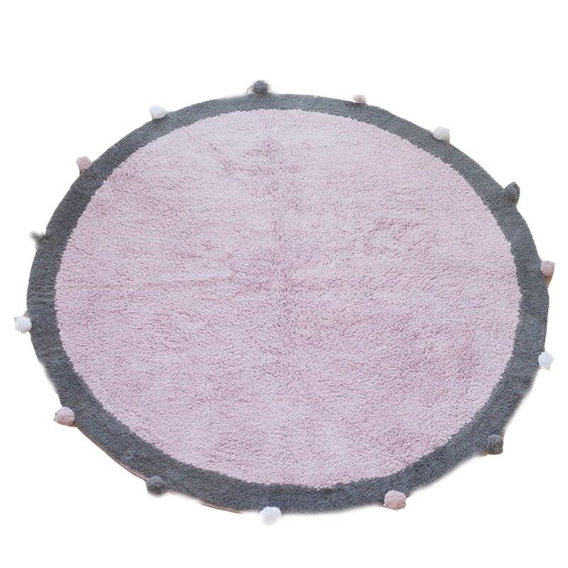 Tapis rond en coton doux nordique | Tapis de sol moelleux Kilim para bébés enfants chambre to coucher salon rose, gris et bleu