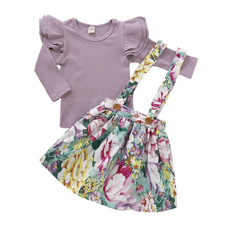 Nuevo conjunto de otoño para niña, conjuntos de falda manga larga acampanada, blusa de algodón + falda de estampado Floral con tirantes, atuendos informales