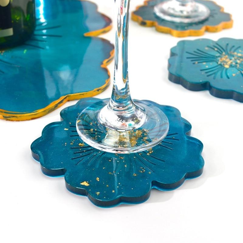 2Pcs Crystal Epoxy Resin Mold Flower Shape Coaster Pad Casting Silicone Mould K3KC