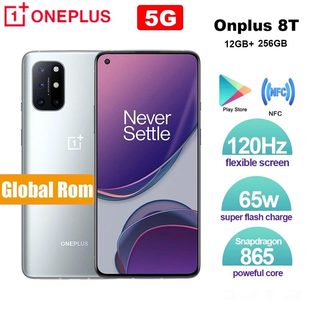 Глобальная прошивка OnePlus 8T 12 Гб 256 Snapdragon 865 5G смартфон 120 Гц активно-матричные осид жидкости Экран 64MP 65 Вт Warp заряда