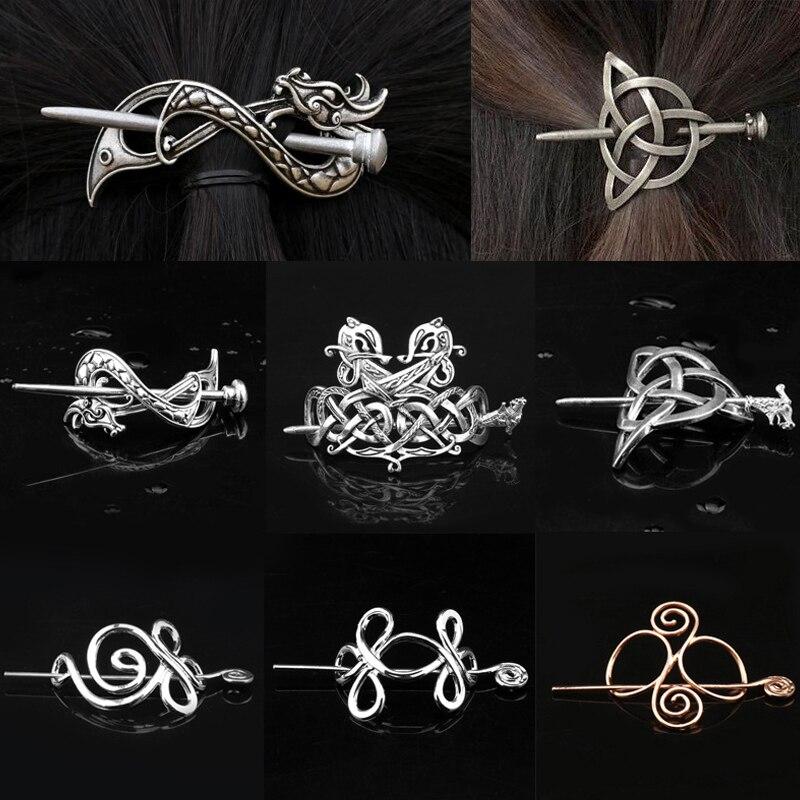 Horquillas vikingas para el pelo, joyería de Celtics, nudos, corona, palillo de Metal Vintage, pinzas para el pelo, Mitología nórdica, adornos para el pelo para mujeres