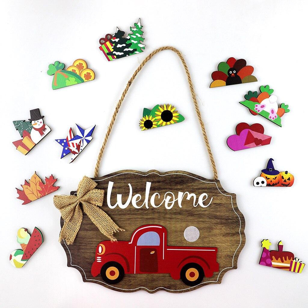 Взаимозаменяемые временные красные дверные знаки для грузовика, деревянные овальные дверные вешалки, венки, знаки, фермерские подвесные ре...