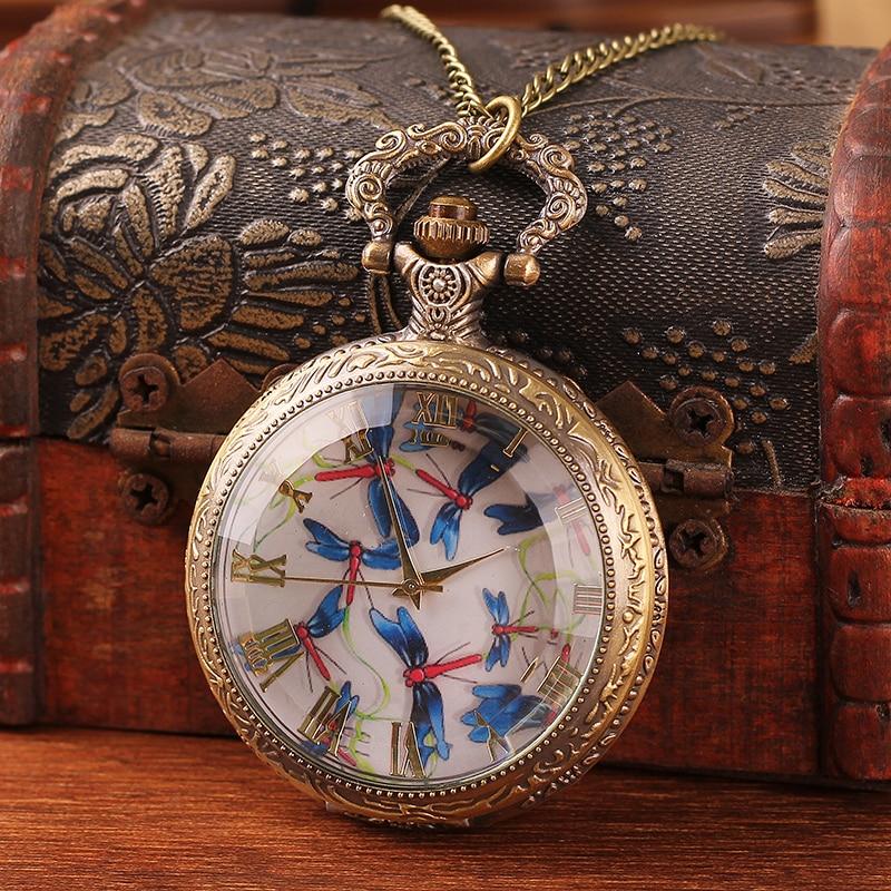 2020 New Listing Fashion Men and Women Pocket Watch Quartz Bronze Antique Pocket Watch Steampunk Fashion Antique Printing