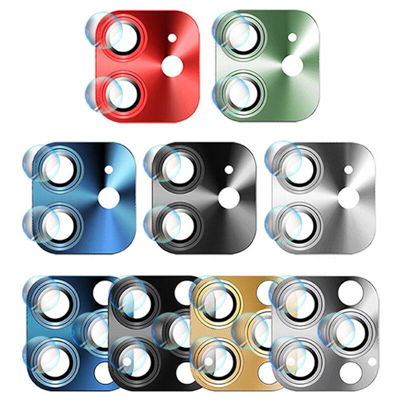 Protezioni dello schermo dell'obiettivo della fotocamera in metallo + vetro per iPhone12 serie copriobiettivo in lega di alluminio Ultra sottile per iPhone 12 Mini Pro Max