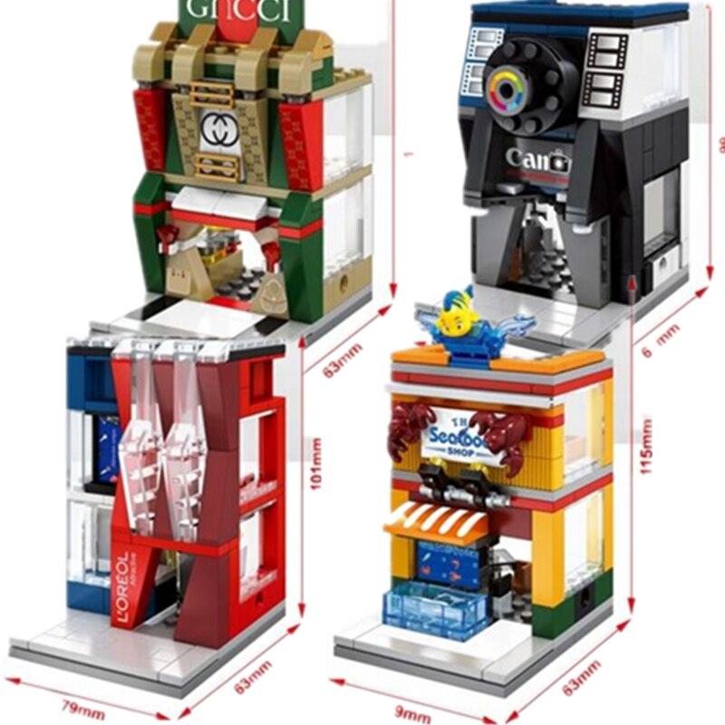 4 Uds Mini Street View OREAL Gucc Cámara tienda de comida marina bloques de construcción Compatible con Lego