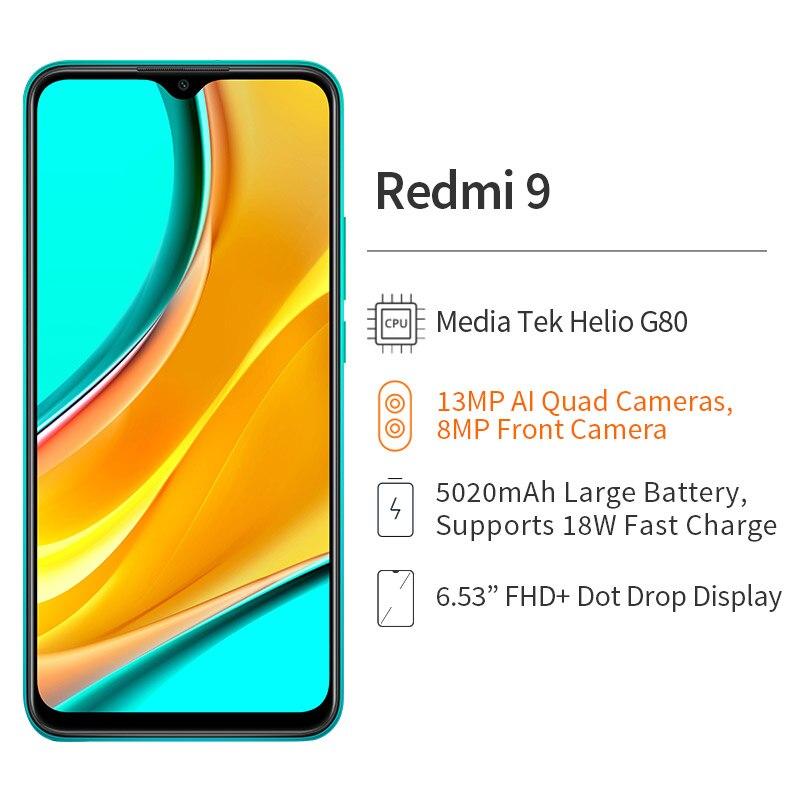 هاتف شاومي ريدمي 9 بذاكرة وصول عشوائي 4 جيجابايت وذاكرة داخلية 64 جيجابايت هاتف ذكي ميديا تيك هيليو G80 وكاميرا 13 ميجابكسل + 8 ميجابكسل شاشة 6.53 بو...
