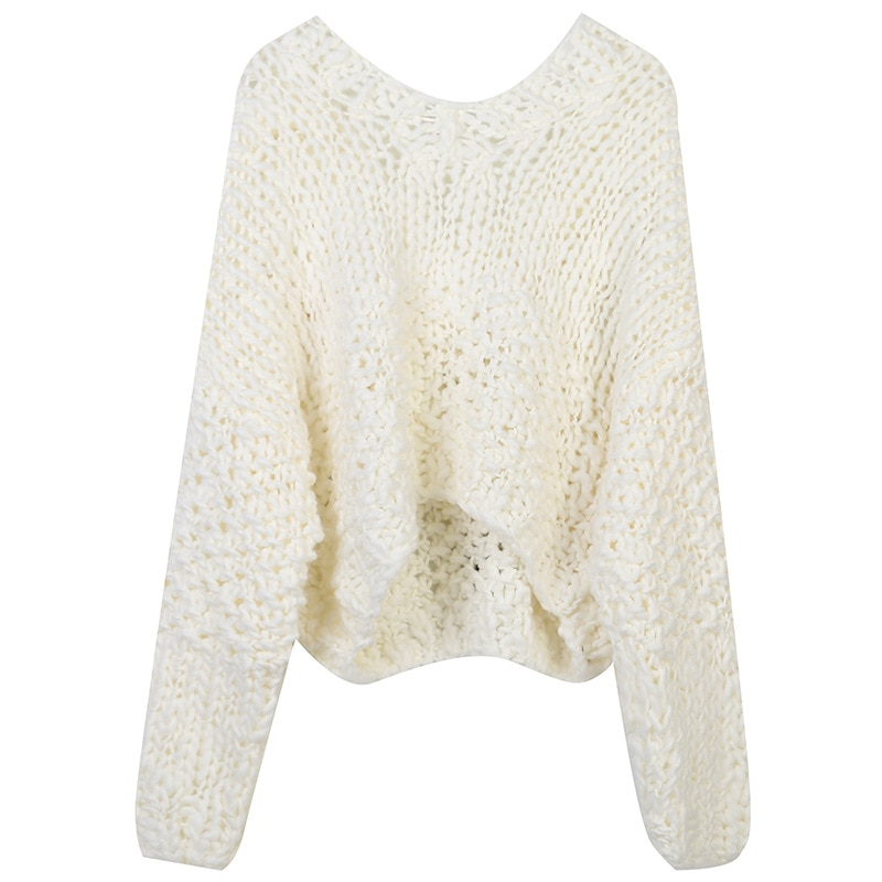 SHUCHAN Knit Sweater Women V-Neck  Appliques Sweet Hollow Out Floral Regular Yarn Cropped Sweater  Dropshipping White enlarge
