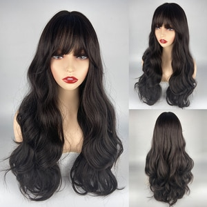 URCGTSA Naturl Synthetic Long Wavy Wig Dark Root Ombre Black Wigs Hair for Women Colorful Fiber Hair Wigs High Temperature