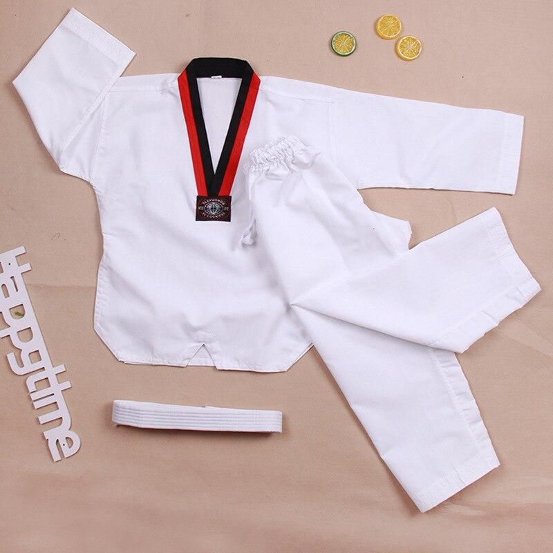 Blanco tradicional Taekwondo uniforme niños adultos Taekwondo Dobok traje WTF uniforme de Karate ropa de manga larga de entrenamiento de Fitness