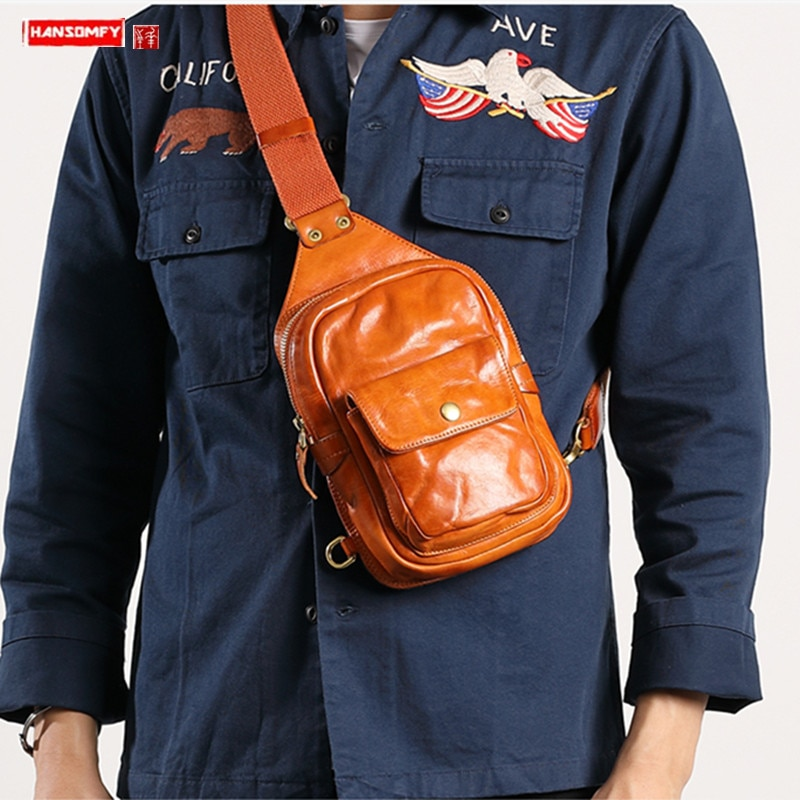 حقيبة صدر جلدية للرجال ، النسخة الكورية من الطبقة الأولى ، صغيرة ، محمولة ، خفيفة ، ريترو ، عصرية