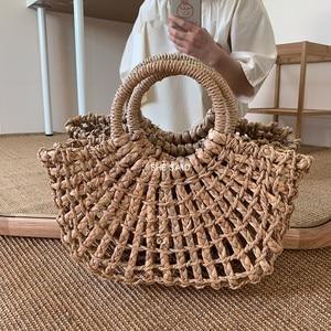NEW Fashion Women Tote Bag Rattan Cotton Rope Hollow Straw Woven Summer Beach Bag Casual Handmade Female Shoulder Bags Sac