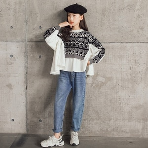 6 to 16 Years New Girls Autumn Tops Knit Patchwork Pgeometric Kids Sweater Teen Children 2021 Clothes Mommy and Daughter,#6457