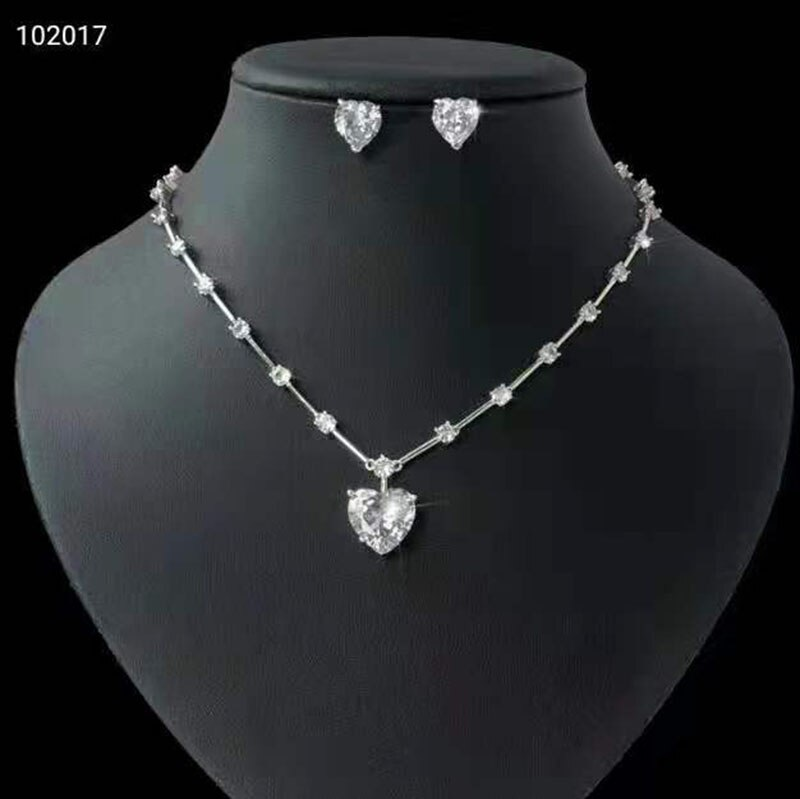 Funmode Hot sale Pink Heart Shape Small Jewelry Sets Bridal Dubai Full Jewelry Set For Women Wedding Party Accessories FS201