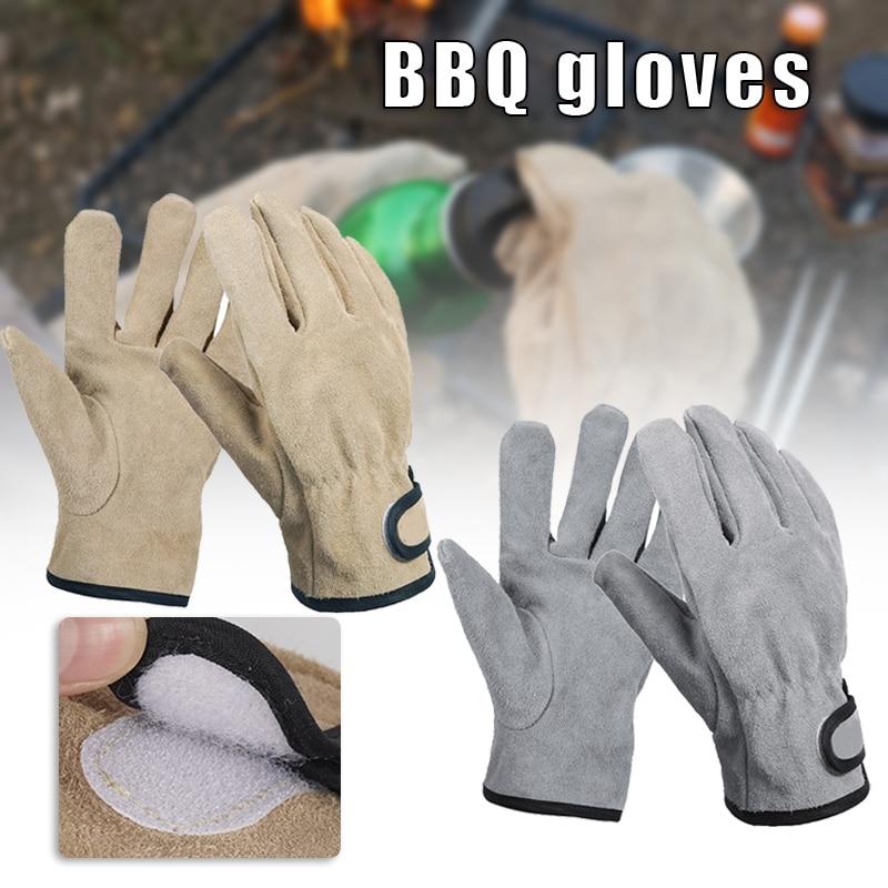 Аксессуары для кемпинга, термостойкие перчатки для гриля, дизайнерские Нескользящие перчатки из воловьей кожи для барбекю, универсальные л...