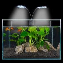Lampe déclairage daquarium 15W Super luminosité   Clip déclairage sur réservoir de poissons 2 têtes, lampe de croissance pour les poissons aquatiques animaux de compagnie