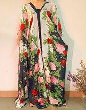 Elegancka europejska drukowana malezja kobiety jedwabna Katfan długa sukienka mecz szalik bezpłatny rozmiar dekolt letnia afrykańska damska sukienka Boubou