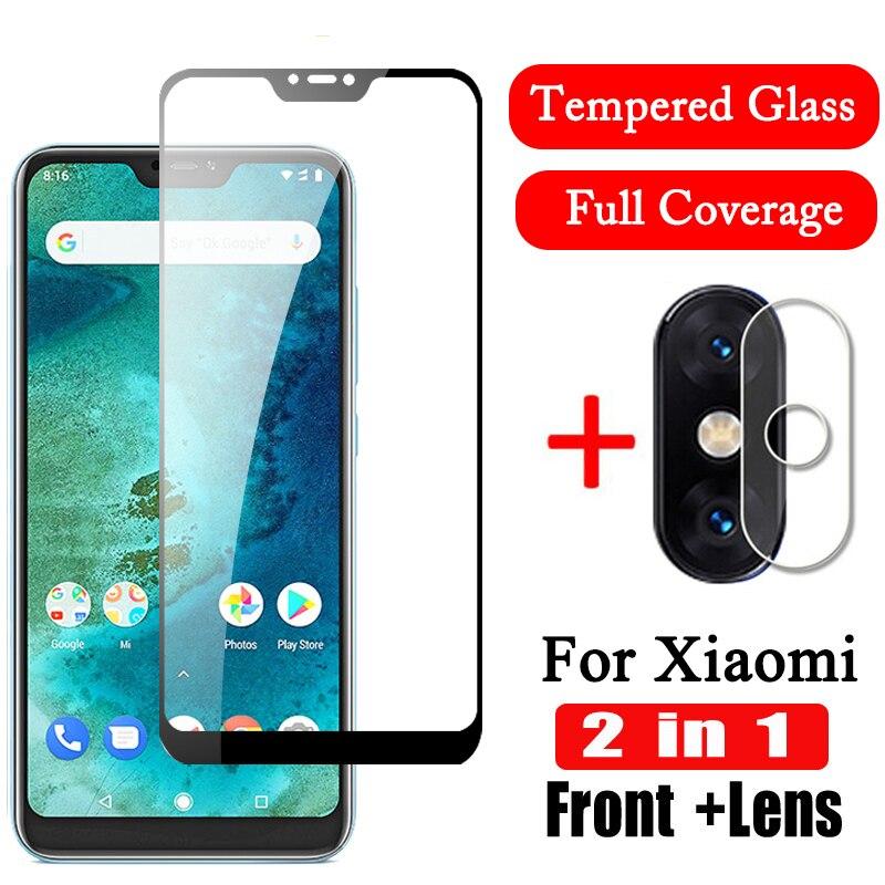 2 en 1, cristal templado 9D para Xiaomi Mi A2 A3 Lite, Protector de pantalla para cámara, película protectora para lente, cristal xiomi MiA3 Mi A3 light MiA2