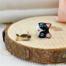 Ellastore 1 Pair Korean lady Cute Cat Fish Rhinestone Stud Earrings Jewelry