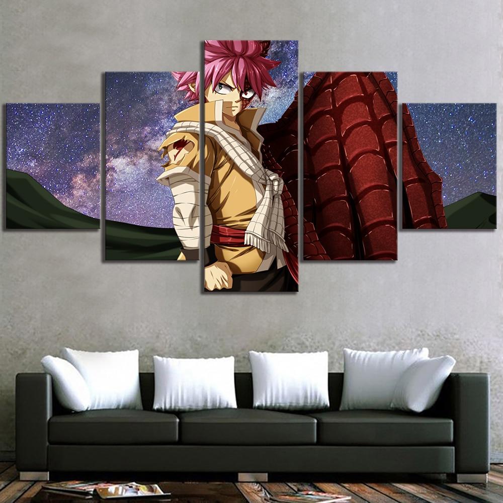 Decoração da casa modular cartaz anime imagens 5 pçs fairy tail natsu dragneel arte da parede da lona pintura dos desenhos animados para sala de estar