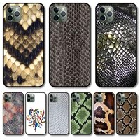 snake skin phone case cover for iphone 12 pro max 11 8 7 6 s xr plus x xs se 2020 mini black cell shell