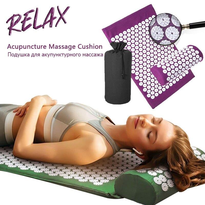 Não-Deslizamento Esteira de Massagem de Acupressão Mat Yoga Exercício Esteira de Massagem Almofada De Lótus Corpo Aliviar A Dor Pranamat Pilates Mat Travesseiro saco