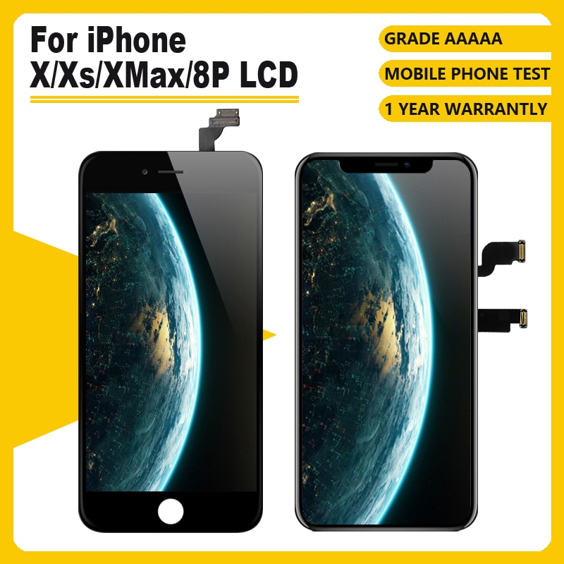 Gradeaaaa para o iphone x xr xs xsmax 8plcd display para tft oled oem tela de toque com digitador peças reposição conjunto preto