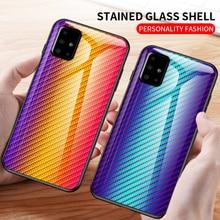 Für Samsung Galaxy M31S Fall Carbon Faser muster Gehärtetem Glas Telefon Abdeckung Für Samsung Galaxy M31S Fall Coques