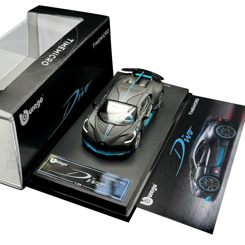 B* pré-pedido ** bburago x timemicro 164 bugatti divo cinza supersport carros diecast modelo carro