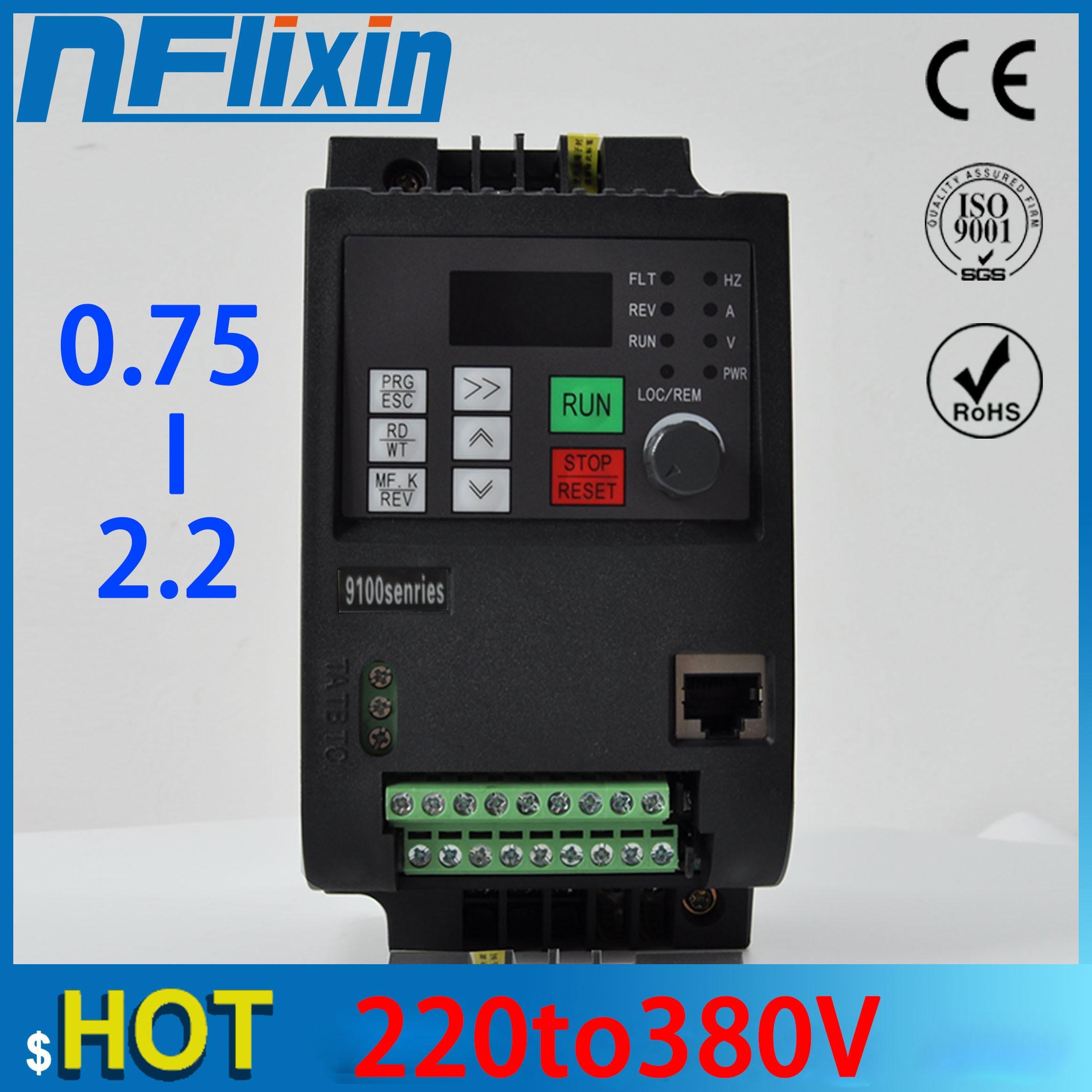 VFD1.5kW/2.2KW/محول تردد متغير 3-Phase 380 فولت الناتج 1-phase 220 فولت المدخلات محول منظم السرعة موتور VFD العاكس
