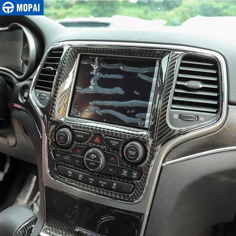 MOPAI Interior Carbon Fiber Car Navigation Center Control Decoration Cover Sticker for Jeep Grand Cherokee 2014+ Car Accessories enlarge