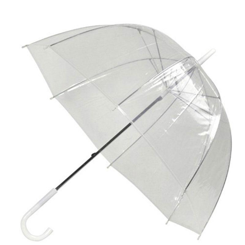 Accesorios de moda, sombrilla de boda, decoración de boda transparente, sombrilla de mango largo para lluvia, sombrilla semiautomática