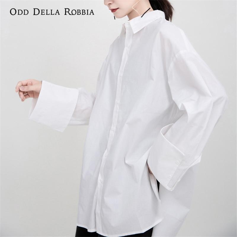 OddDellaRobbia 2021 قميص نسائي للربيع والصيف مقاس كبير من القطن طويل تصميم فضفاض بلون واحد قميص لصديقها 1278