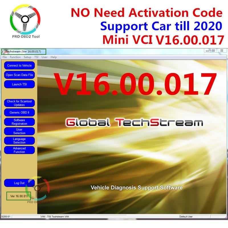 MINI VCI V16.00.017 for TOYOTA TIS Techstream V15.00.028 MINI-VCI Software Support 2020 Mini vci V15