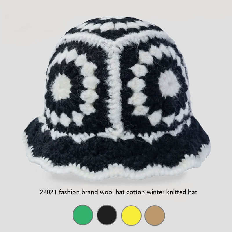 Панама женская из чистого хлопка, модная брендовая шерстяная шапка, складная вязаная крючком Панама с отверстиями, разноцветная, зима 2021