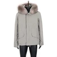 2021 real fur coat men winter parka waterproof jacket natural rabbit fur liner detachable warm outerwear coat korean thick parka
