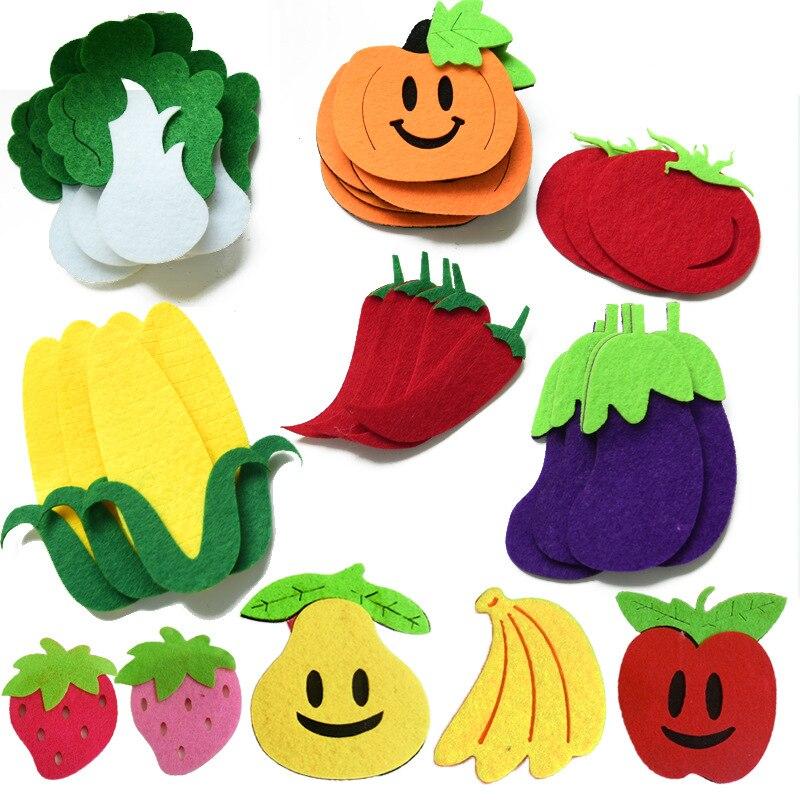 T-N Obst Gemüse Handgemachte DIY Cartoon Filz Handwerk Non Woven Patch Applique DIY Filz Pad Kindergarten Dekoration Wand Aufkleber