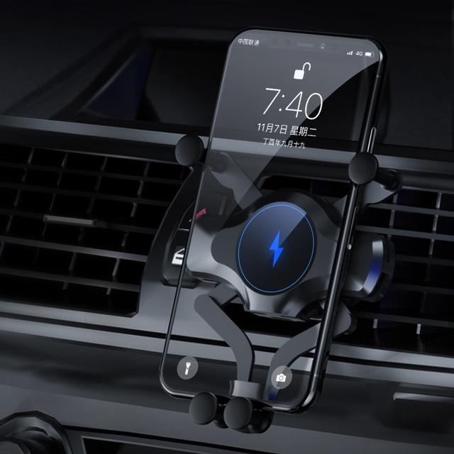 10 Вт автомобильное беспроводное зарядное устройство для iPhone 12 11 Pro Max XS XR X Автомобильное гравитационное крепление для Samsung S21 Note 20 Ультра зарядное устройство держатель для телефона