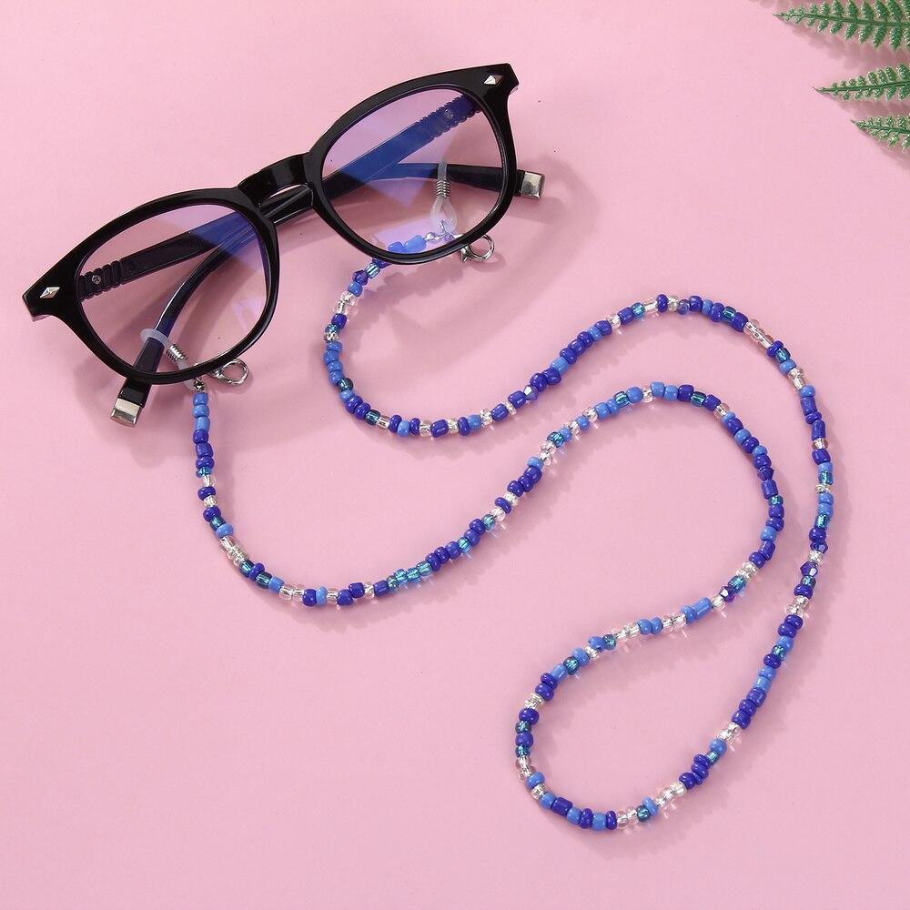 Simple moda Multicolor semilla cuentas gafas de sol titular collar cadena cordón cadena para las mujeres joyería