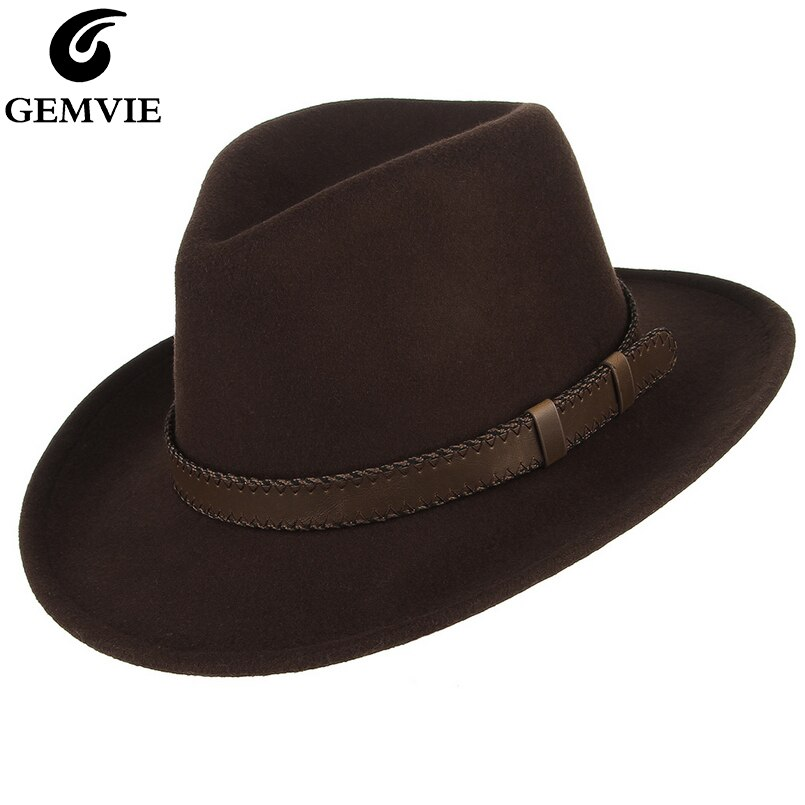 GEMVIE Men/Women Wide Brim Wool Felt Outback Hat Fedora With Leather Belt Band Autumn Winter All Seasons Cowboy Hat