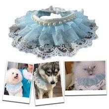 Bijoux animaux de compagnie faits à la main chat   Accessoires chat princesse, dentelle de gaze bleue, ours blanc princesse, écharpe ajustable pour animaux de compagnie bavoir